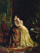 Cuddle Paintings - Before the Marriage by Sergei Ivanovich Gribkov