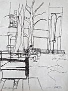 Benches Drawings - Before the Rain by Wade Hampton