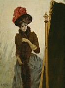 Feathered Hat Paintings - Before The Swing Mirror by Emile Galle