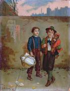 Lads Prints - Beggars and a Monkey Print by Augustus Edward Mulready