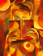 Expressive Painting Originals - Behind Her Book by Hakon Soreide