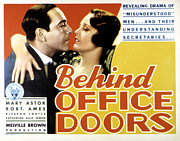Arm Around Shoulder Posters - Behind Office Doors, Ricardo Cortez Poster by Everett