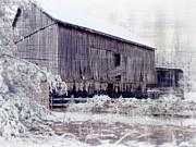 Barn Yard Photo Prints - Behind The Barn Print by Kathy Jennings