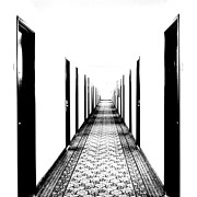 Hallway Digital Art Framed Prints - Behind the Doors Framed Print by Dale Stillman