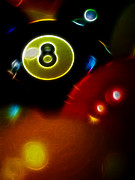 Billiard Digital Art Acrylic Prints - Behind The Eight Ball - Vertical Cut - Electric Art Acrylic Print by Wingsdomain Art and Photography