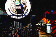 Steam Locomotives Digital Art Posters - Behind The Gates At The Old Locomotive House . Painterly Poster by Wingsdomain Art and Photography