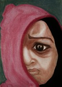 Dark Eyes Pastels Prints - Behind The Mask Print by Mireille K