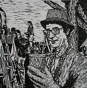 Mardi Gras Drawings - Behind the Parade by William Cauthern