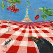 Table Cloth Drawings - Behold Pie by Bon Vernarelli