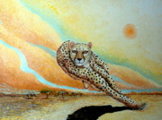 Cheetah Running Framed Prints - Behold The Cheetah Framed Print by Santiago Chavez