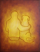 Gold Labrador Paintings - Being There 2 - Dog and Friend by Amy Reges