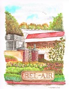 Watercolors Painting Originals - Bel-Air-entrance-California by Carlos G Groppa