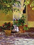 Flower Pots Prints - Bel-Air Patio Steps Print by David Lloyd Glover