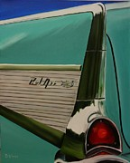 57 Chevy Painting Framed Prints - Belair Aqua Fin Framed Print by Dean Glorso
