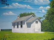 Old School House Painting Posters - Belding School Poster by Norm Starks