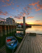 New England Village Framed Prints - Belfast Harbor Sunset Framed Print by Kevin Kratka