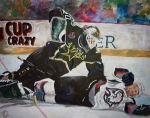 Hockey Painting Metal Prints - Belfour Metal Print by Travis Day