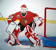 Blackhawks Drawings - Belfour by William Howard