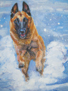 Belgian Paintings - Belgian Malinois in Snow by L A Shepard