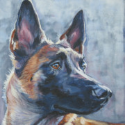 Belgian Prints - Belgian malinois in winter Print by Lee Ann Shepard