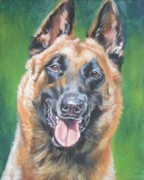 Smile Painting Framed Prints - Belgian Malinois smile Framed Print by L A Shepard