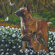 Belgian Paintings - Belgian Malinois With Pup by Lee Ann Shepard