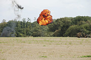 Blowing Up Framed Prints - Belgian Paratroopers Under Attack Framed Print by Luc De Jaeger