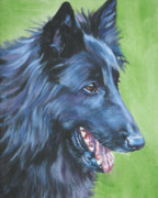 Belgian Paintings - Belgian Sheepdog by L A Shepard