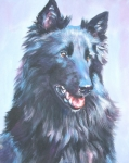 Sheepdog Framed Prints - Belgian Sheepdog portrait Framed Print by L A Shepard