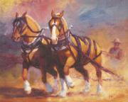 Contest Painting Prints - Belgian Team Pulling Horses Painting Print by Kim Corpany