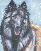 Belgian Paintings - Belgian Tervuren in snow by Lee Ann Shepard