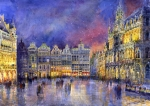 Watercolour Prints - Belgium Brussel Grand Place Grote Markt Print by Yuriy  Shevchuk