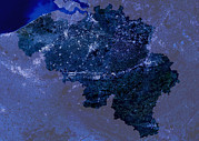 Intensity Prints - Belgium By Night, Satellite Image Print by Planetobserver
