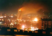 Nato Prints - Belgrade Buildings On Fire On April 21 Print by Everett