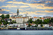 Clocktower Prints - Belgrade cityscape on Danube Print by Elena Elisseeva