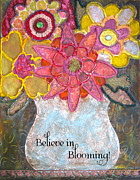 Yellows Mixed Media Framed Prints - Believe in Blooming Framed Print by Martina Schmidt