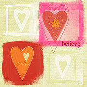 Red Orange Prints - Believe In Love Print by Linda Woods