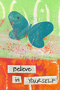 Green Orange Posters - Believe in Yourself Poster by Linda Woods