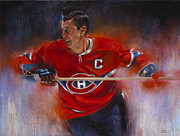 Hockey Painting Prints - Beliveau Print by Gary McLaughlin