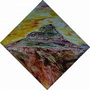 Featured Glass Art - Bell Mountain in the evening. by Arnold Quentin