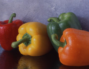 Wooden Bowl Prints - Bell Peppers Print by Jerry Taliaferro