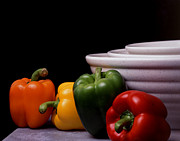 Wooden Bowl Prints - Bell Peppers with Bowls Print by Jerry Taliaferro