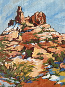 Red Rock Paintings - Bell Rock 2 by Sandy Tracey