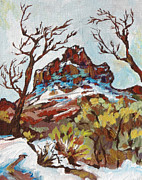 Snowfall Paintings - Bell Rock 3 by Sandy Tracey