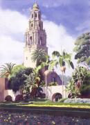 Spanish Posters - Bell Tower in Balboa Park Poster by Mary Helmreich