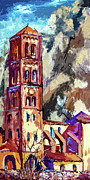 France Mixed Media Metal Prints - Bell Tower South Of France Metal Print by Ginette Callaway