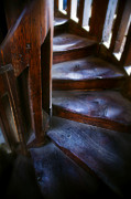 Wooden Stairs Metal Prints - Bell tower steps II Metal Print by John  Bartosik