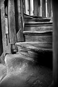 Wooden Stairs Photo Prints - Bell tower steps1 Print by John  Bartosik