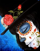 Painted Face Posters - Bella Muerte Returns Poster by Al  Molina