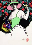Graphic Arts Drawings Posters - Belladonna and Apples Poster by Roberto Prusso